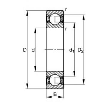 20 mm x 42 mm x 12 mm  FAG 6004-2RSR Cojinetes de bolas profundas