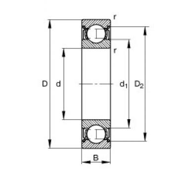 45 mm x 100 mm x 25 mm  FAG 6309-2Z Cojinetes de bolas profundas