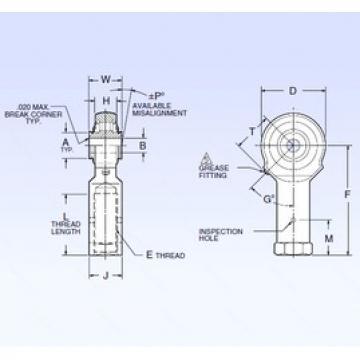 9,525 mm x 42,164 mm x 9,525 mm  NMB ARR6FFN-1B Rodamientos De Rodillos Esféricos